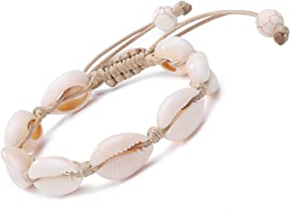 Natural Cowrie Bead Shell Bracelet Hawaiian Jamaican Style Adjustable Beach Surfer Jewelry Macrame Bracelets for Women Girls