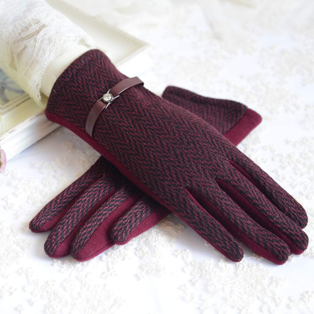 Leouy Women's Retro Style Warm Gloves British Fashion Mitten Winter Touch Screen Gloves Spring and Autumn Driving Non-Slip Gloves Autumn and Winter Riding Wind and Cold Mitten