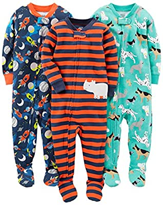 Simple Joys by Carter's Baby Boys' 3-Pack Snug Fit Footed Cotton Pajamas, Dogs/Space/Rhino, 24 Months