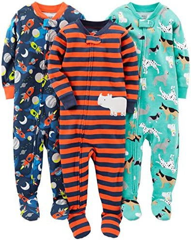 Simple Joys by Carter s Baby Boys 3 Pack Snug Fit Footed Cotton Pajamas Dogs Space Rhino 3T product image