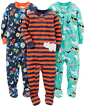 Simple Joys by Carter s Baby Boys  3-Pack Snug Fit Footed Cotton Pajamas Dogs/Space/Rhino 18 Months
