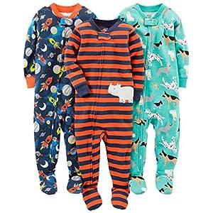 Simple Joys by Carter's pijama de algodón para bebés y niños pequeños, 3 unidades ,Dogs/Space/Rhino ,12 Meses