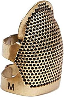 Edego Sewing Thimble Shield Finger Metal Brass Adjustable Protective Punch Needle Protector DIY Crafts Needlework Embroidery Quilting (Middle)
