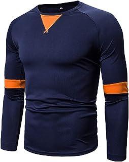 T-Shirt da Uomo Slim Fit Manica Lunga Girocollo Camicie Basic Moda Patchwork Tempo Libero Camicia Comoda Top Leggero Trasp...