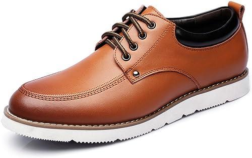 SRY-chaussures Lace Up Mocassins PU Cuir Décontracté Affaires Soft Flats Sole Oxfords (Couleur   Marron, Taille   8.5 UK)