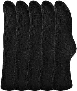 Henny Rue Wool Socks Women's Men Casual Winter Warm Thick Knit Cozy Slouch Black Socks Crew (5Pairs-5)