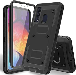 "HATOSHI Samsung Galaxy A20 Case, Galaxy A50 Case with Built-in Screen Protector, [Heavy Duty Protection] Armor Shockproof Rubber Bumper Rugged Protective Phone Cover for Galaxy A20/A30/A50 6.4""-Black"