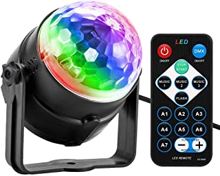 Party Light, Disco Ball Party Lights Sound Activated with Remote Control, 7 Color Modes..
