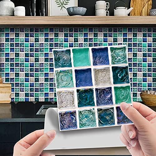 10 unidades de adhesivos para azulejos de pared en 3D, autoadhesivos, resistentes al agua, para cocina, baño, suelo, muebles, decoración del hogar, 10 x 10 cm