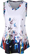 TOPUNDER Women Casual Tank Tops Printed Butterfly T-Shirt Sleeveless Blouse