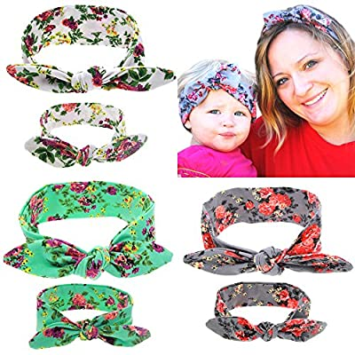 Mommy and Me Headband Set is Matching Headbands for Mother & Daughter, Baby Girl and Mom Headbands Or Hairbands with Bunny Ears Headwrap for New Mom & Newborn Infant Toddler (6Pack/3sets)