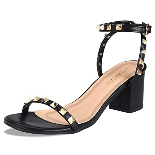 Padcod Womens Leather Chunky Heel Sandals Open Toe Heels Ladies Girls Cut  Out Barely Shoes Ankle 80b8ce63a17d