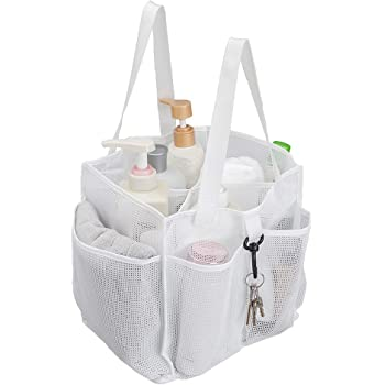 ALYER Mesh Shower Caddy Basket,Large Shower Bag Tote,Hanging Bath Toiletry Organizer with 1 Big Separated Inner Compartment and 6 Deep Outer Pockets (White)