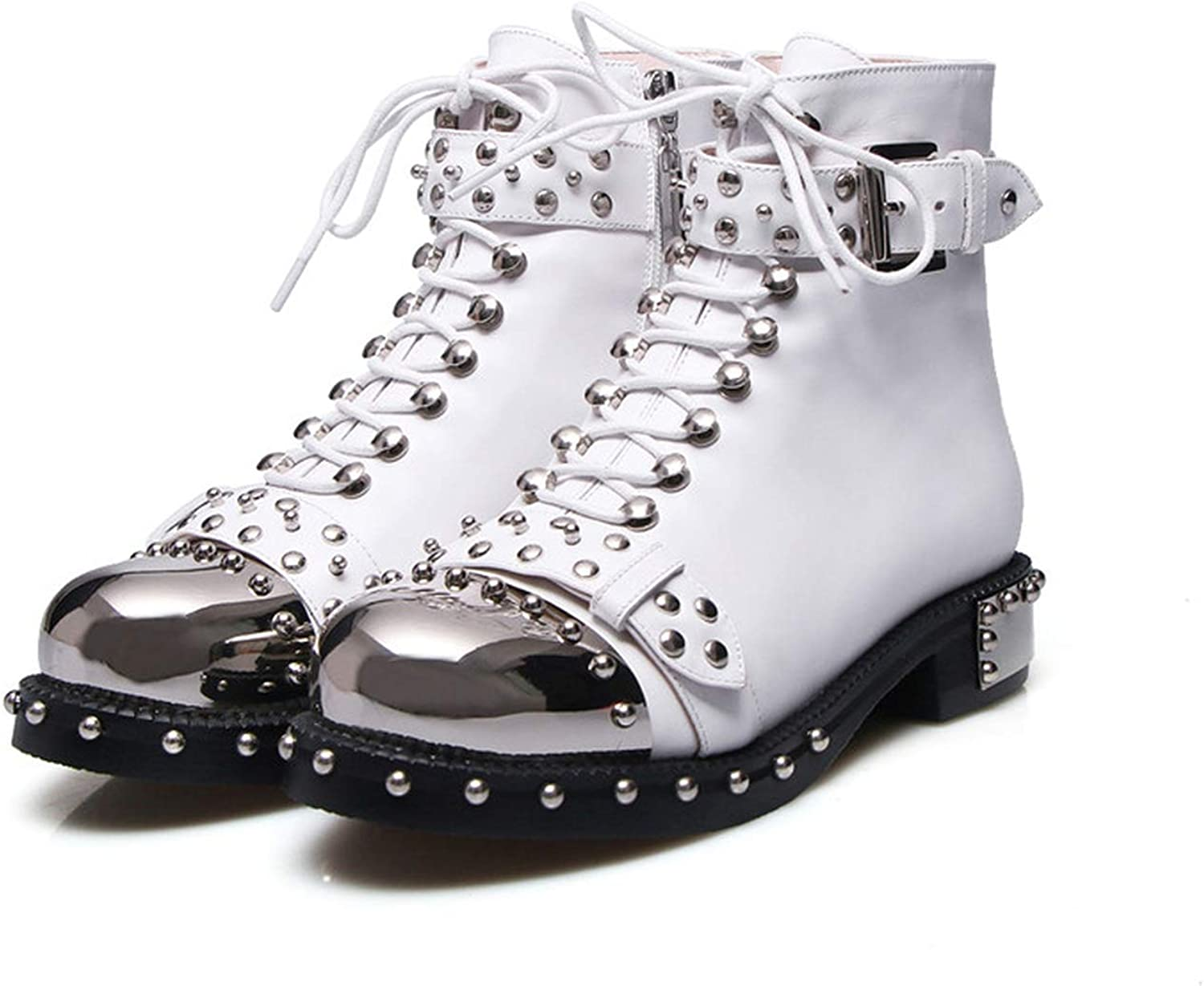 Punk Genuine Leather Boots Women Rivets Square Heels Autumn Winter Ankle Boots Sexy shoes Woman Motorcycle S