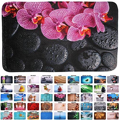 Sanilo Badteppich I viele schöne Badematten zur Auswahl I Badvorleger sehr weich und rutschfest I waschbar und schnelltrocknend (70 x 110 cm, Madeira)