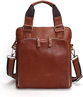 Men's Shoulder Bag Leather Multi-Function Crossbody Fashion First Layer Leather (Color : Brown, Size : S)