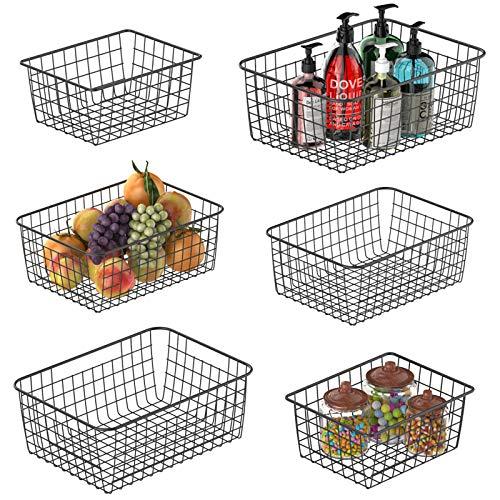 Wire Storage Basket, Packism 6 Pack Metal Household Storage Organizer Bin for Pantry, Shelf, Freezer, Kitchen Cabinet, Bathroom, 3 Sizes, Black