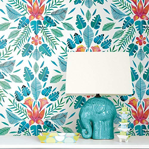 RoomMates RMK11391RL Cat Coquillette Blue and Orange Tropical Peel and Stick Wallpaper