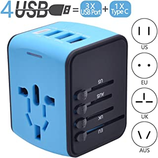 Travel Adapter, Universal Travel Power Adapters with 1 Type C, 3 USB Charging Ports and EU UK AUS US Plug All in One Wall Charger, 100-240V Worldwide Voltage Travel Plugs Converter (Blue)
