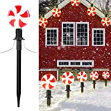 Outdoor Lollipop Christmas Pathway String Lights, 7.16 Feet Wire 10 inched Stake, Clips, Pluggable, Hangable, Waterproof, Connectable Holiday Decor Light for Gutter Roof, 2 Pack,10 Lights, Warm White