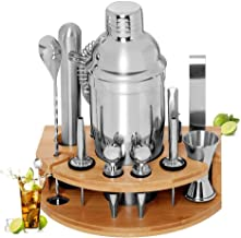 BRITOR Cocktail Set Bartender Kit,Cocktail Shaker Set with Bamboo Stand 12 Piece Bartending Tools 25 oz Professional Stain...