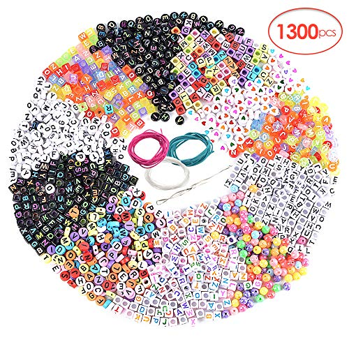 Souarts 1300PCS Acrylic Letter Beads for Valentines Bracelets Beads for DIY Jewelry Kit Accessories Handmade Jewelry Material Alphabet Letter Beads for Jewelry Making Beads for Crafts (Multicolor)