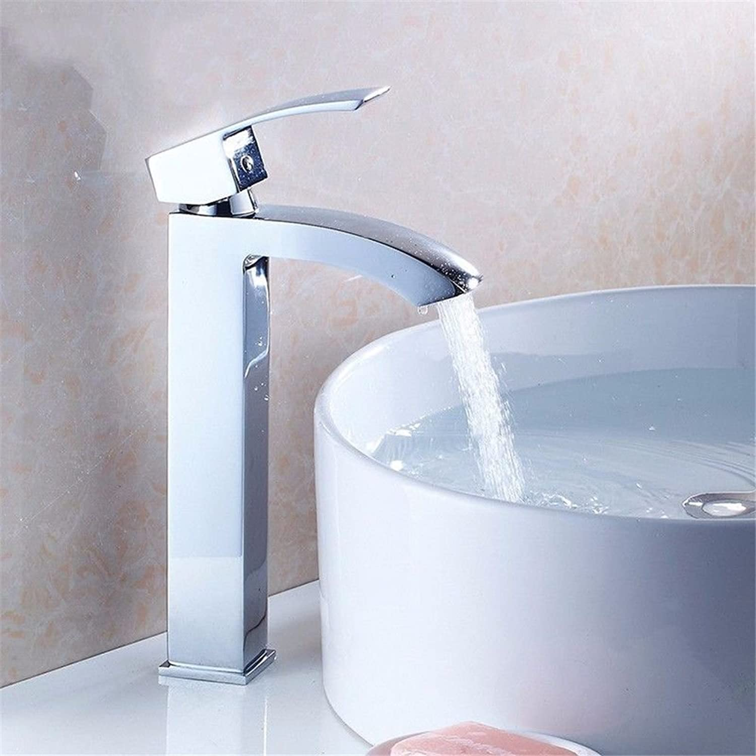 Gyps Faucet Single-Lever Washbasin Mixer Tap High Washbasin Tap with Hot and Cold Water Tap Single Hole Silver Handle