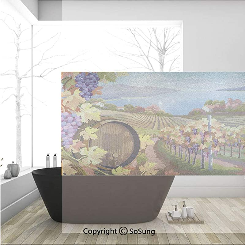 3D Decorative Privacy Window Films Countryside Landscape In Vineyard Agriculture Winemaking Season Grapes In Farm Art Print No Glue Self Static Cling Glass Film For Home Bedroom Bathroom Kitchen Offic
