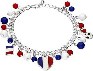 SIX Frankrijk bedelarmband, hart, voetbal, vlag, fanartikel, accessoire voor Europees kampioenschap, nationaal elf (613-716)