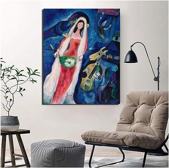 WJY Marc Chagall Abstrakte Leinwand Malerei Druck Wohnzimmer Wohnkultur Kunstwerk Moderne Wandkunst /Ölgem/älde Poster Bild Kunst 50x60cm Kein Rahmen