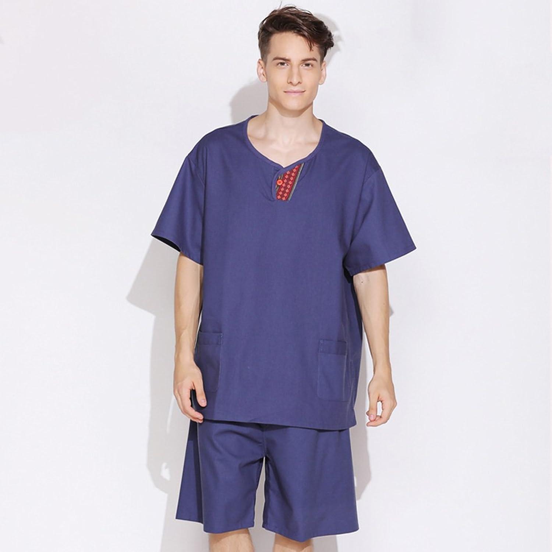 GJM Shop Cotton and Linen Male and Female Models Bathrobe Silk Linen Couple Models Nightgown Pajamas (color   Male, Size   M)