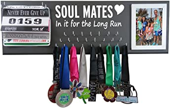 RunningontheWall Valentines Runners Medal Rack and Bib Hanger Valentines Gift for Running Lovers, Running Shoes Lover Sole Mates Heart, in it for The Long Run Medal Rack and Race Bibs with Picture