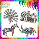 FUNWISH 3D Coloring Puzzle Set, Painting Puzzles with 4 Kits, Suitable for Girls and Boys Aged 6 7 8 9 10 11 12 Years Old. Creativity DIY Gift, Drawing Kit for Kids, Birthday Toy Gift for Kids.