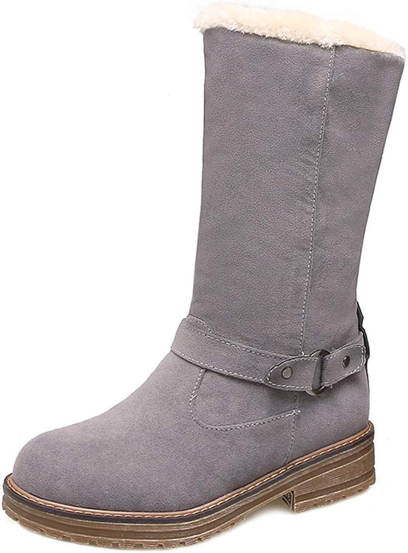 FANIMILA Women Mid Calf Shearling Boots Warm Lining shoes Winter Boots