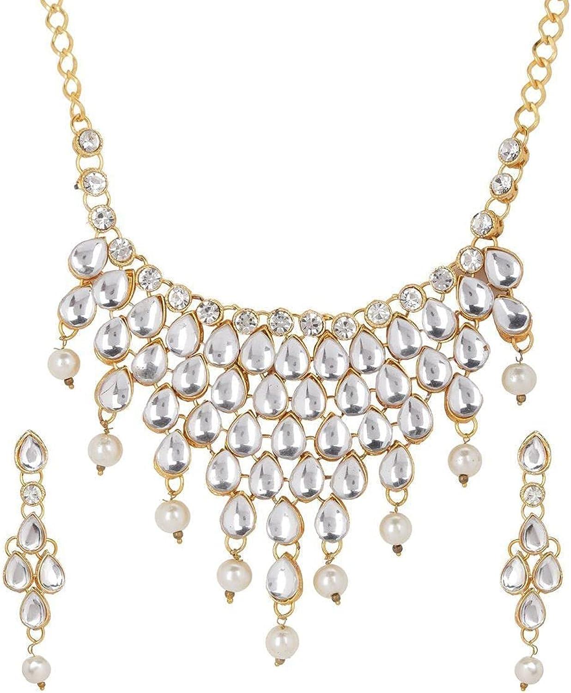 Efulgenz Indian Bollywood Gold Plated Crystal Kundan Rhinestone Faux Pearl Wedding Choker Collar Necklace Earrings Jewelry Set
