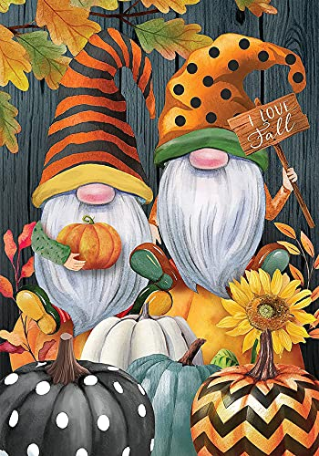 NAIMOER Diamond Painting Kits for Adults, DIY Full Round Drill Diamond Art Fall Gnomes Pumpkins Diamond Painting Christmas by Numbers Kits Arts and Crafts for Home Wall Decor (12x16 Inch)