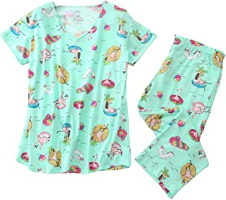 Women's Pajama Sets Capri Pants with Short Tops Cotton Sleepwear Ladies Sleep Sets
