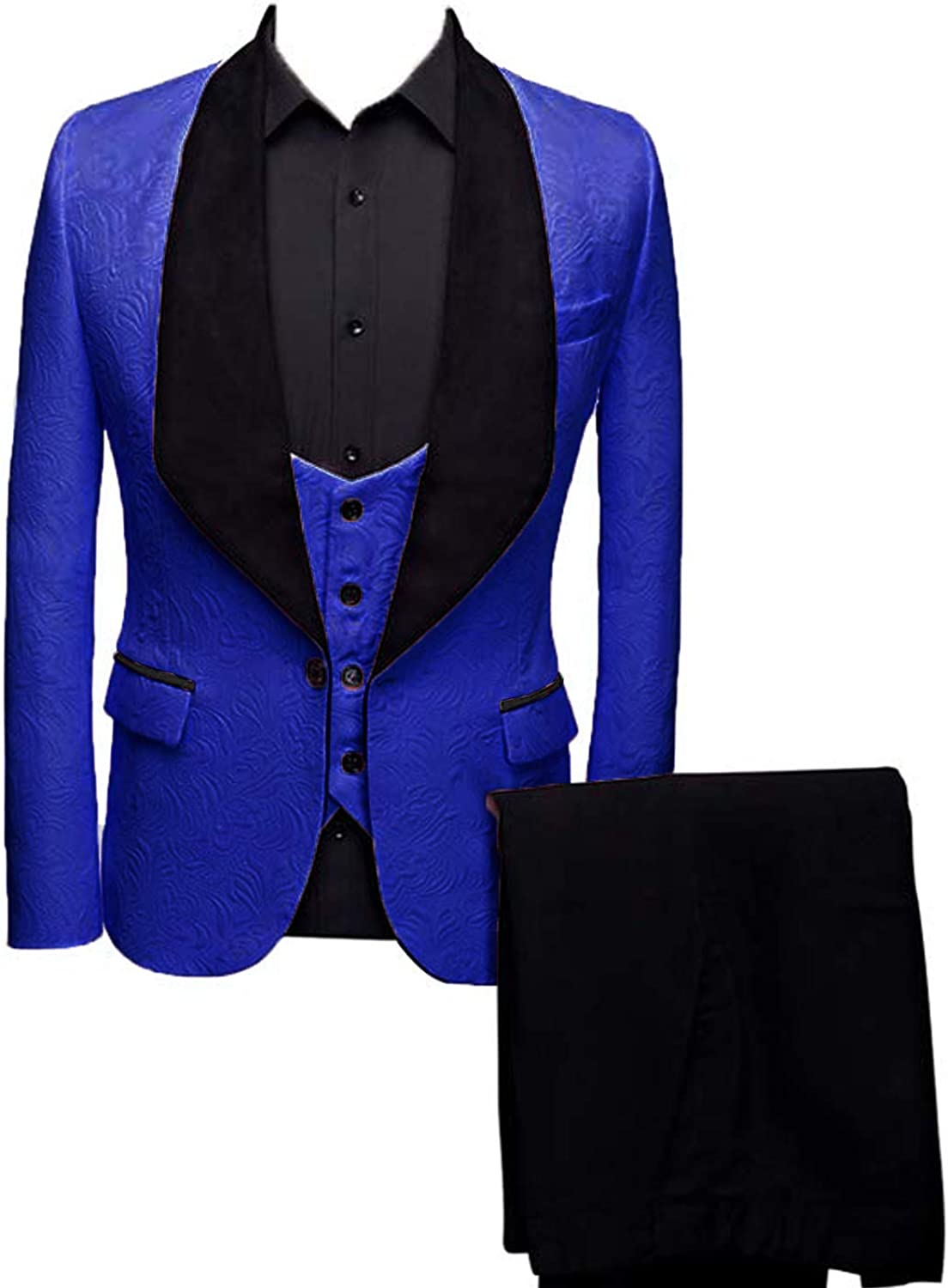 Everbeauty Mens Wedding Suits Slim Fit Three Piece Floral Prom Suit Formal Dress Tux Mens Blazer for Party EXZ036