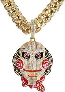 MoCa Jewelry Collana con ciondolo a forma di pagliaccio 69 Tekashi69 6ix9ine, effetto diamante, brillante, hip hop, placca...