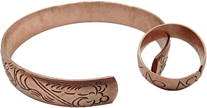 100% Pure Copper Tibetan Healing Bracelet and Ring Set. Unisex, Hand Made High Gauge Copper