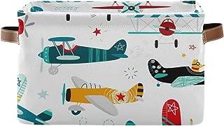 AUUXVA MAHU Storage Basket Bins Cartoon Airplane Boy Pattern Large Collapsible Storage Cubes Organizer Box Foldable Toys L...