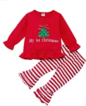 HAPPYMA Christmas Outfits Toddler Baby Girl Pants Sets Reindeer/Xmas Tree Long Sleeve Ruffle Top + Stripe Flared Trousers Fall Clothes 1-5T (Xmas Tree, 6-12 Months)