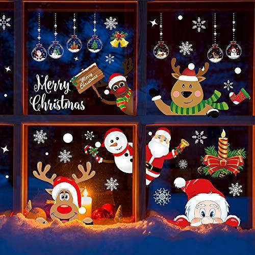 Facio Weihnachten Fensterbilder, Fensterdeko für Weihnachts- und Winter- Dekoration, hochwertigem PVC-Material mit Kleber (9 Blätter)