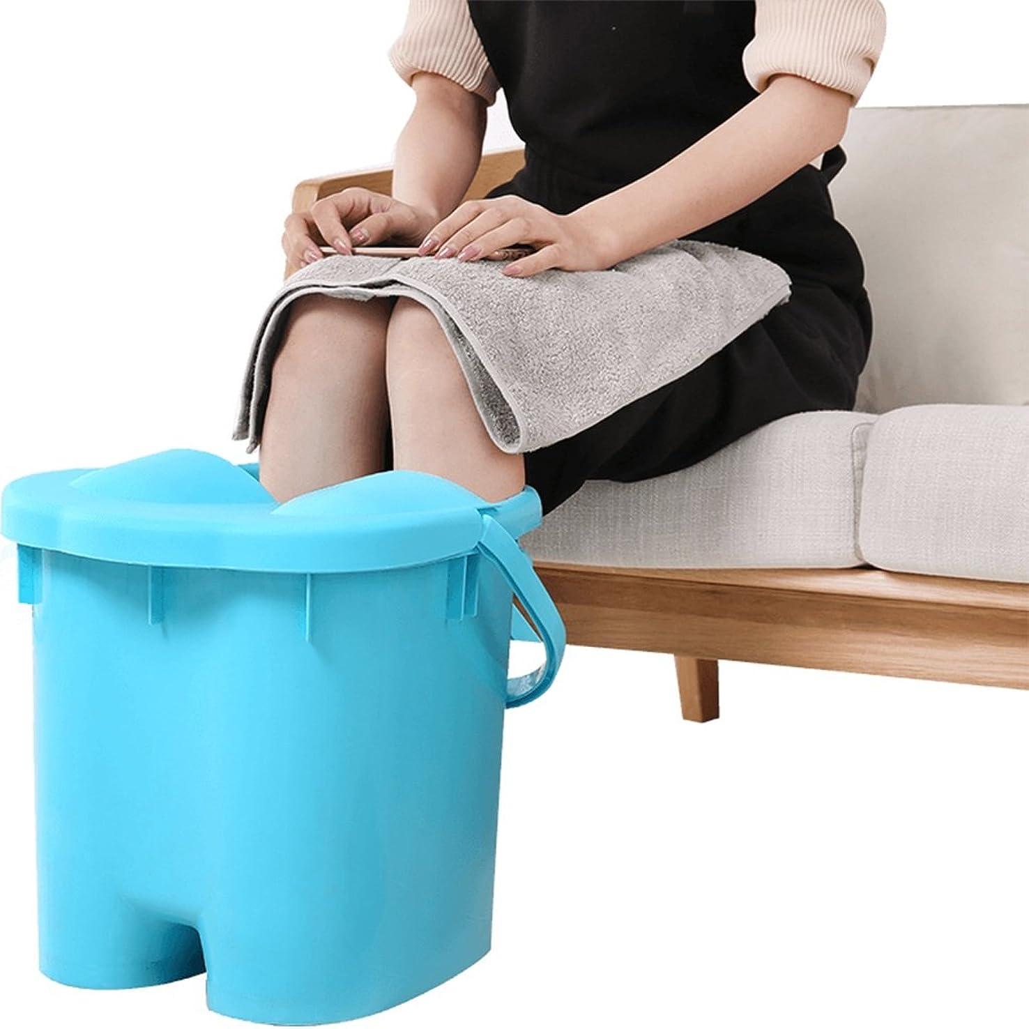 グリーンバック脅かす割るフットバスの子供の大人のプラスチック足のバスタブマッサージバレルホーム絶縁燻蒸バレルと厚い足のバスバケツ (Color : Blue, Size : 31*37*23.5cm)