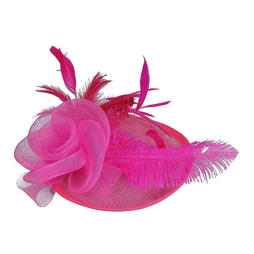 遠洋の誇張するキャベツMerssavo 英国スタイルのブライダルハット、女性エレガントな花の羽のベールの帽子ヴィンテージリネンティアラヘアアクセサリードレス帽子、6#