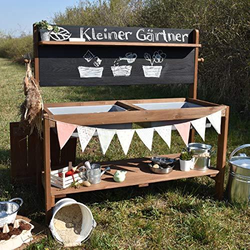 Meppi Matschküche Kleiner Gärtner, braun aus Holz, Outdoor-Küche - 5