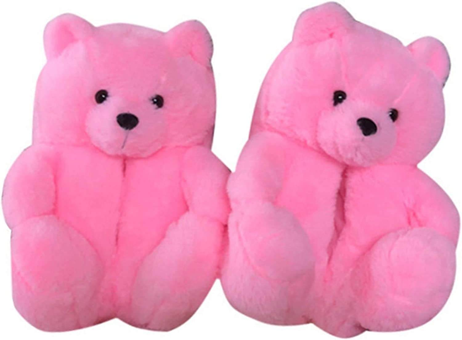 Women's Plush Teddy Bear Slippers, Fuzzy Fluffy Furry Faux Fur Soft House Bedroom Slipper, Anti-Slip Warm Winter Cute Home Indoor Shoes for Girls