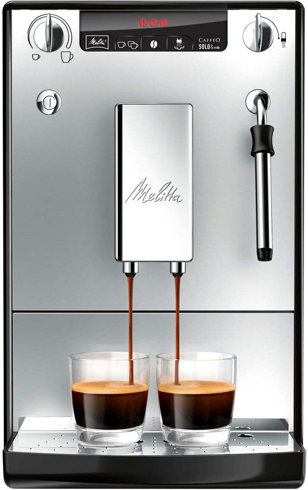 Melitta Caffeo Solo&Milk E953-102 Cafetera Superautomática con Sistema de Leche, Molinillo, 15 Bares, Café en Grano, Limpieza Automática, Personalizable, Plata