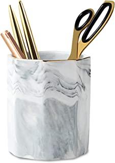 WAVEYU Pen Holder, Stand for Desk Marble Pattern Pencil Cup for Girls Kids Durable Ceramic Desk Organizer Makeup Brush Hol...