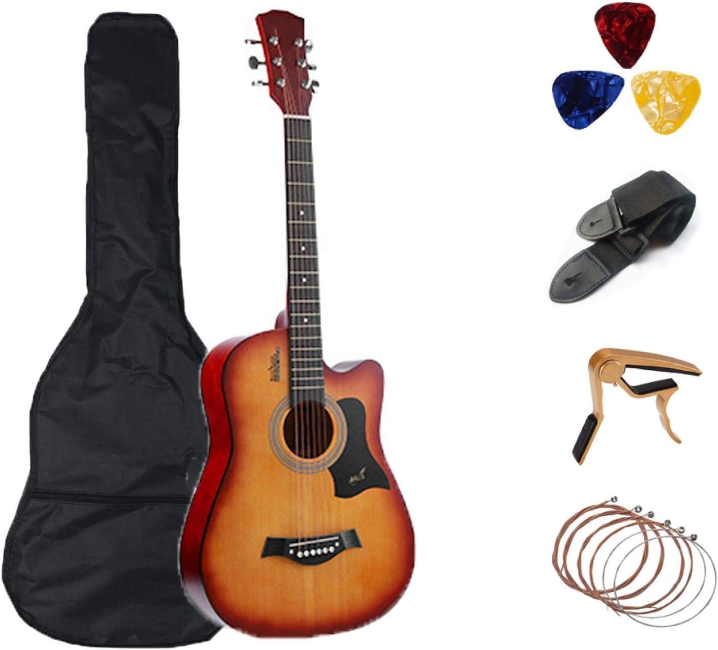KEPOHK 38/41 pulgadas Guitarra 6 cuerdas Folk Pop Guitarra acústica Guitarra de madera maciza Guitarra profesional Guitarra Enviar accesorios 38 pulgadas SunsetA